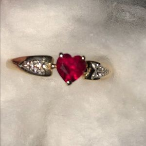 Real 14k gold and ruby diamond side accents ring
